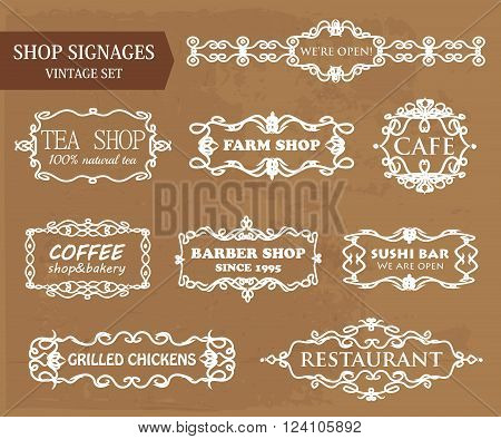 Vintage shop signages. Vector set for design