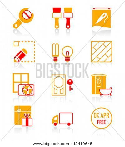 Home repair, remodelling, redecoration and shop services icon-set