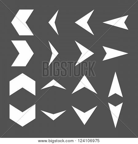 Arrowheads vector icon set. Collection style is white flat symbols on a gray background. Arrowheads icons.