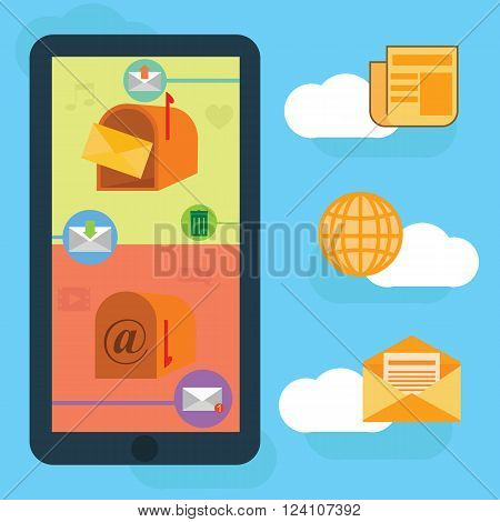 Flat vector mobile phone on a blue background with clouds and icons mail