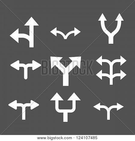 Divide Arrows vector icon set. Collection style is white flat symbols on a gray background. Divide Arrows icons.