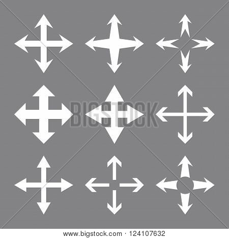 Expand Arrows vector icon set. Collection style is white flat symbols on a gray background. Expand Arrows icons.