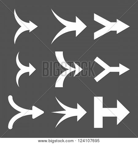 Join Arrows Right vector icon set. Collection style is white flat symbols on a gray background. Join Arrows Right icons.