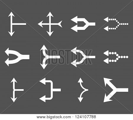 Junction Arrows Left vector icon set. Collection style is white flat symbols on a gray background. Junction Arrows Left icons.