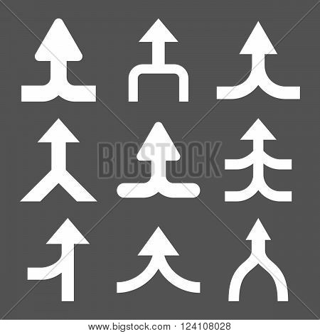 Merge Arrows Up vector icon set. Collection style is white flat symbols on a gray background. Merge Arrows Up icons.