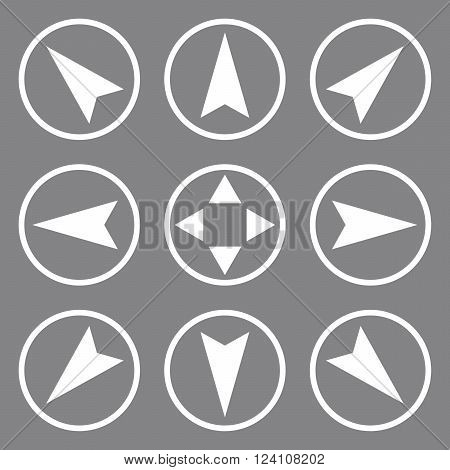 Navigation Directions vector icon set. Collection style is white flat symbols on a gray background. Navigation Directions icons.