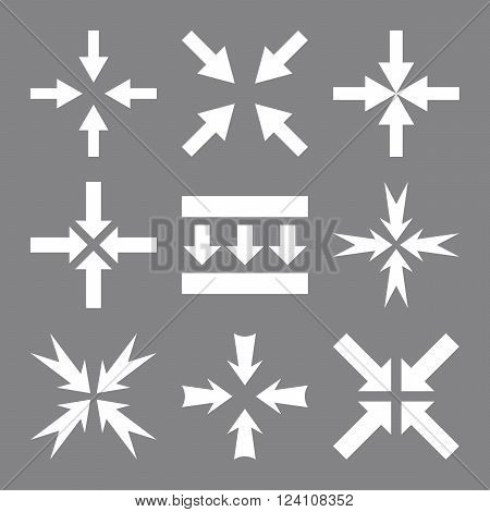 Pressure Arrows vector icon set. Collection style is white flat symbols on a gray background. Pressure Arrows icons.