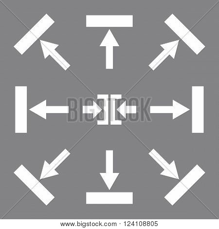 Push Directions vector icon set. Collection style is white flat symbols on a gray background. Push Directions icons.