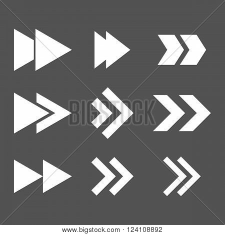 Right Direction vector icon set. Collection style is white flat symbols on a gray background. Right Direction icons.