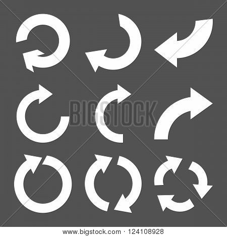 Rotate Clockwise vector icon set. Collection style is white flat symbols on a gray background. Rotate Clockwise icons.