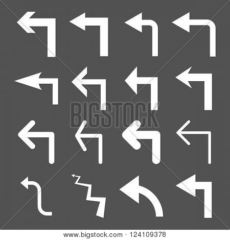 Turn Left vector icon set. Collection style is white flat symbols on a gray background. Turn Left icons.