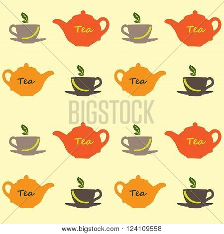 Seamless vector pattern with tea pots and tea cups.