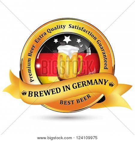 Brewed in Germany - Premium Beer Extra quality, Satisfaction Guaranteed ribbon / sticker advertising for pubs, clubs, restaurants and breweries. Contains beer mug and the flag of Germany