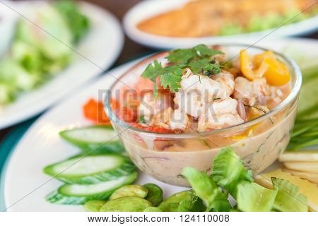 Simmer shrimp with vegetable in plate. Thai Food.