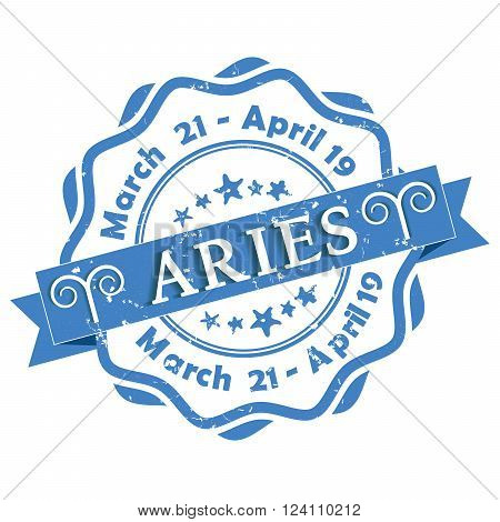 Aries zodiac sign grunge blue ribbon, also for print. Contains also the Dates of Birth.
