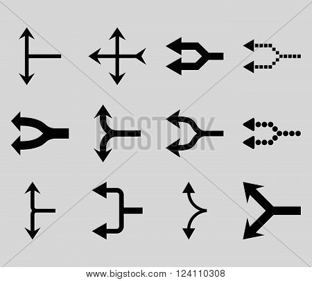 Junction Arrows Left vector icon set. Collection style is black flat symbols on a light gray background. Junction Arrows Left icons.