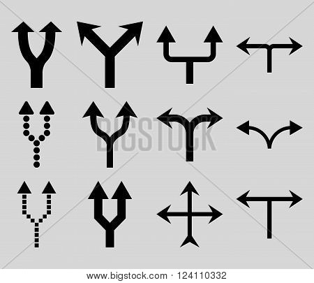 Junction Arrows Up vector icon set. Collection style is black flat symbols on a light gray background. Junction Arrows Up icons.