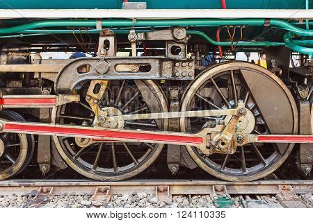 Steam Locomotive Wheels And Rods Closeup