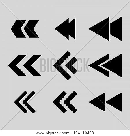Left Direction vector icon set. Collection style is black flat symbols on a light gray background. Left Direction icons.