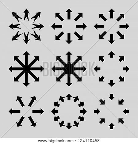 Maximize Arrows vector icon set. Collection style is black flat symbols on a light gray background. Maximize Arrows icons.