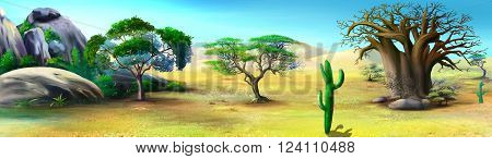 Digital painting of the African Savannah in a summer day with big baobab and stone rocks on background. Panorama.
