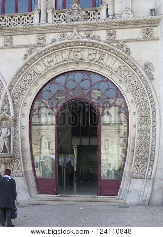 LISBON, PORTUGAL - MARCH 17TH. One of two Arched entrance doors to Rossio Train Station. Lisbon Portugal March 17th 2016.