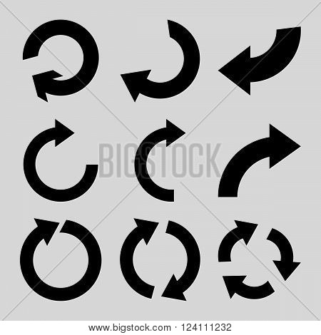 Rotate Clockwise vector icon set. Collection style is black flat symbols on a light gray background. Rotate Clockwise icons.