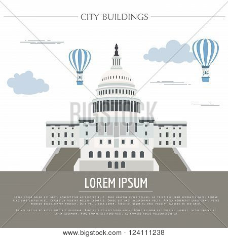 City buildings graphic template.  White house. Capitol. Vector illustration