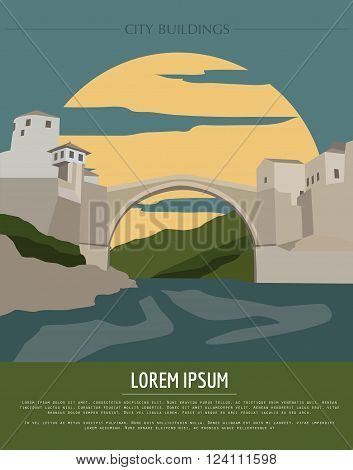 City buildings graphic template. Bosnia and Herzegovina. Vector illustration