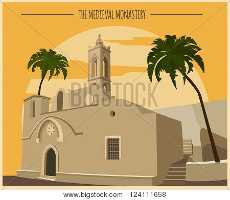 City buildings graphic template. Ayia Napa monastery.  Vector illustration