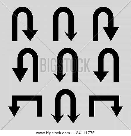 Turn Back Arrows vector icon set. Collection style is black flat symbols on a light gray background. Turn Back Arrows icons.