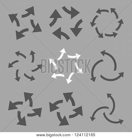 Centrifugal Arrows vector icon set. Collection style is bicolor dark gray and white flat symbols on a silver background. Centrifugal Arrows icons.