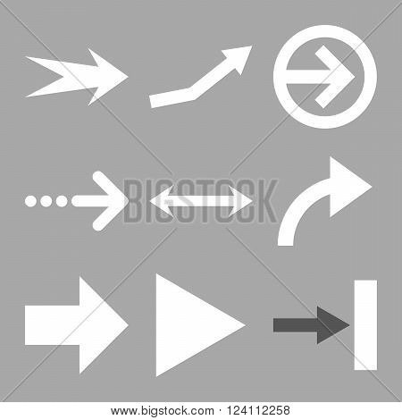 Direction Arrows vector icon set. Collection style is bicolor dark gray and white flat symbols on a silver background. Direction Arrows icons.