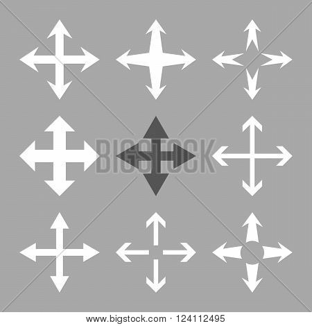 Expand Arrows vector icon set. Collection style is bicolor dark gray and white flat symbols on a silver background. Expand Arrows icons.