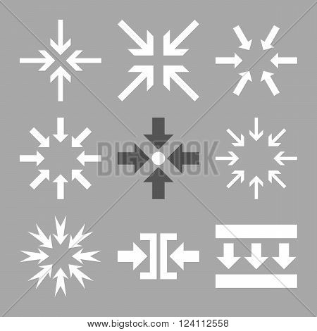Minimize Arrows vector icon set. Collection style is bicolor dark gray and white flat symbols on a silver background. Minimize Arrows icons.