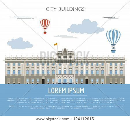 City buildings graphic template. Royal Palace Madrid. Vector illustration