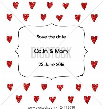 Save the date wedding invitation with glittering red hearts and vintage bracket decorative frame