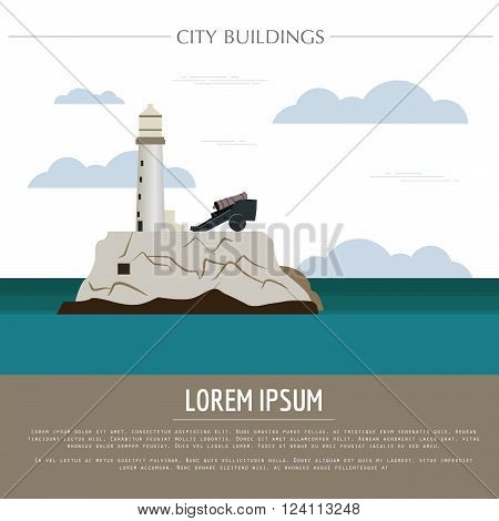 City buildings graphic template. Cuba. Vector illustration