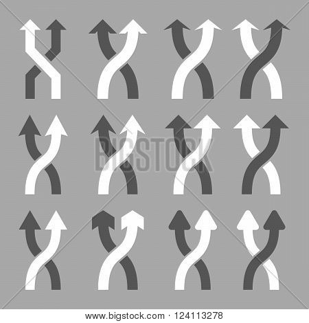 Shuffle Arrows Up vector icon set. Collection style is bicolor dark gray and white flat symbols on a silver background. Shuffle Arrows Up icons.