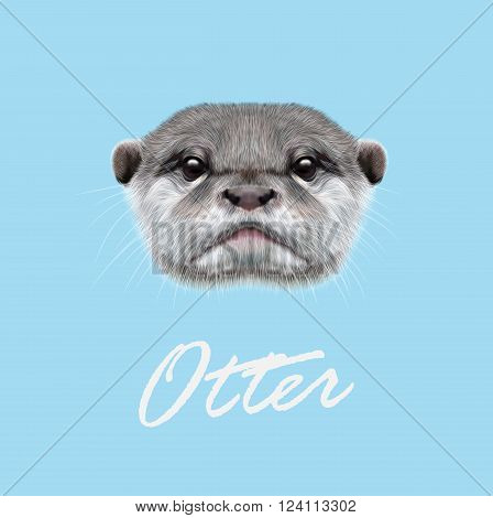 Cute face of aquatic Otter on blue background.