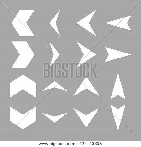 Arrowheads vector icon set. Collection style is white flat symbols on a silver background. Arrowheads icons.