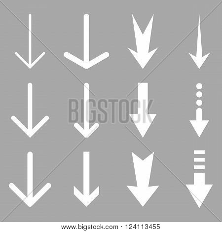 Down Arrows vector icon set. Collection style is white flat symbols on a silver background. Down Arrows icons.