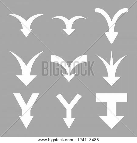 Join Arrows Down vector icon set. Collection style is white flat symbols on a silver background. Join Arrows Down icons.