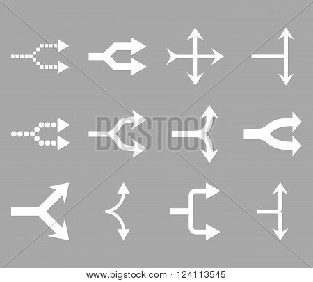 Junction Arrows Right vector icon set. Collection style is white flat symbols on a silver background. Junction Arrows Right icons.