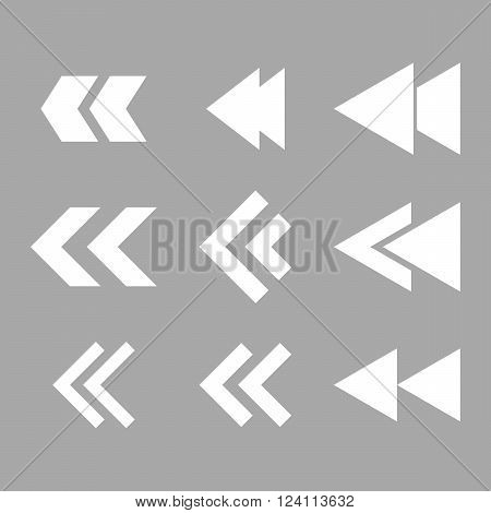 Left Direction vector icon set. Collection style is white flat symbols on a silver background. Left Direction icons.
