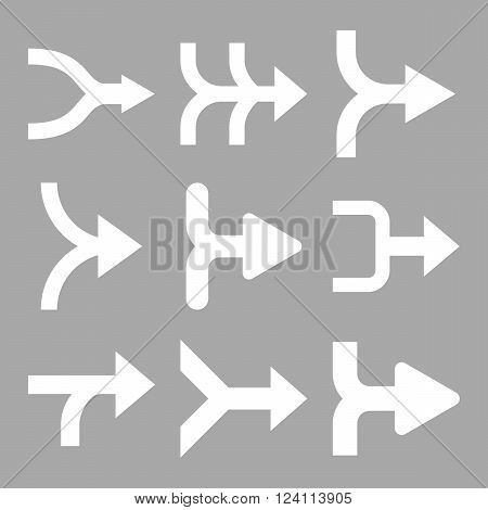 Merge Arrows Right vector icon set. Collection style is white flat symbols on a silver background. Merge Arrows Right icons.