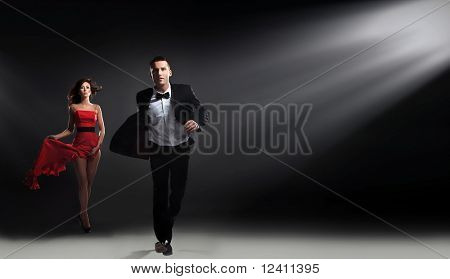 Elegant man running