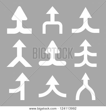 Merge Arrows Up vector icon set. Collection style is white flat symbols on a silver background. Merge Arrows Up icons.