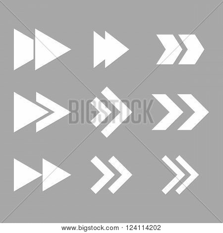 Right Direction vector icon set. Collection style is white flat symbols on a silver background. Right Direction icons.