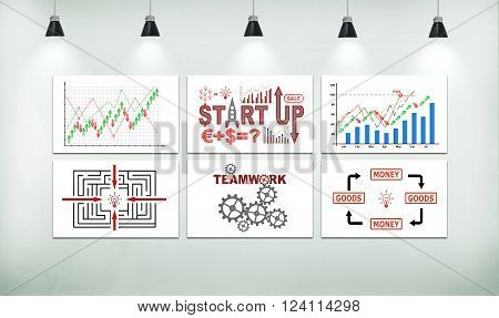 six poster on wall in loft room with drawing start up concept.  3d illustration